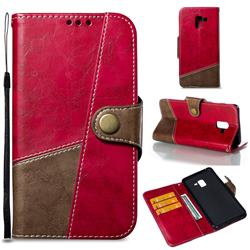 Retro Magnetic Stitching Wallet Flip Cover for Samsung Galaxy A8+ (2018) - Rose Red