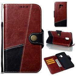 Retro Magnetic Stitching Wallet Flip Cover for Samsung Galaxy A8+ (2018) - Dark Red