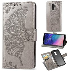 Embossing Mandala Flower Butterfly Leather Wallet Case for Samsung Galaxy A8+ (2018) - Gray