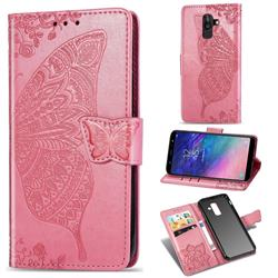 Embossing Mandala Flower Butterfly Leather Wallet Case for Samsung Galaxy A8+ (2018) - Pink