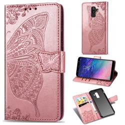Embossing Mandala Flower Butterfly Leather Wallet Case for Samsung Galaxy A8+ (2018) - Rose Gold