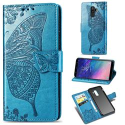 Embossing Mandala Flower Butterfly Leather Wallet Case for Samsung Galaxy A8+ (2018) - Blue