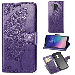 Embossing Mandala Flower Butterfly Leather Wallet Case for Samsung Galaxy A8+ (2018) - Dark Purple