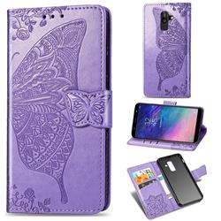 Embossing Mandala Flower Butterfly Leather Wallet Case for Samsung Galaxy A8+ (2018) - Light Purple