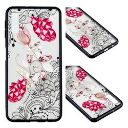 Tulip Lace Diamond Flower Soft TPU Back Cover for Samsung Galaxy A7 (2018)