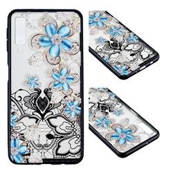Lilac Lace Diamond Flower Soft TPU Back Cover for Samsung Galaxy A7 (2018)