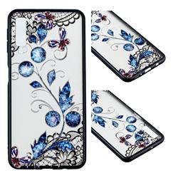 Butterfly Lace Diamond Flower Soft TPU Back Cover for Samsung Galaxy A7 (2018)