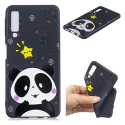 Cute Bear 3D Embossed Relief Black TPU Cell Phone Back Cover for Samsung Galaxy A7 (2018)