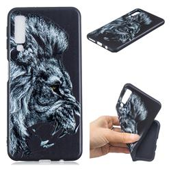 Lion 3D Embossed Relief Black TPU Cell Phone Back Cover for Samsung Galaxy A7 (2018)