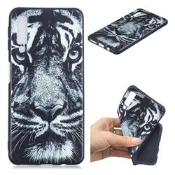 White Tiger 3D Embossed Relief Black TPU Cell Phone Back Cover for Samsung Galaxy A7 (2018)