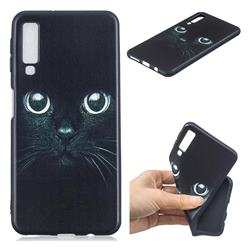 Bearded Feline 3D Embossed Relief Black TPU Cell Phone Back Cover for Samsung Galaxy A7 (2018)