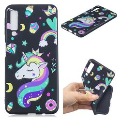 Candy Unicorn 3D Embossed Relief Black TPU Cell Phone Back Cover for Samsung Galaxy A7 (2018)