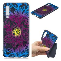 Colorful Lace 3D Embossed Relief Black TPU Cell Phone Back Cover for Samsung Galaxy A7 (2018)