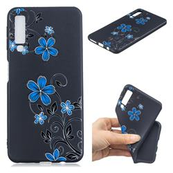 Little Blue Flowers 3D Embossed Relief Black TPU Cell Phone Back Cover for Samsung Galaxy A7 (2018)