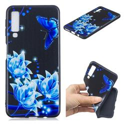 Blue Butterfly 3D Embossed Relief Black TPU Cell Phone Back Cover for Samsung Galaxy A7 (2018)