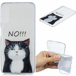 Cat Say No Clear Varnish Soft Phone Back Cover for Samsung Galaxy A7 (2018)