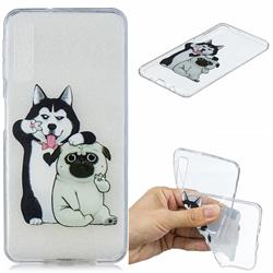 Selfie Dog Clear Varnish Soft Phone Back Cover for Samsung Galaxy A7 (2018)