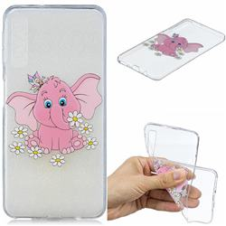 Tiny Pink Elephant Clear Varnish Soft Phone Back Cover for Samsung Galaxy A7 (2018)