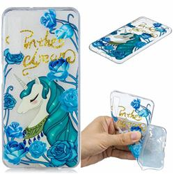 Blue Flower Unicorn Clear Varnish Soft Phone Back Cover for Samsung Galaxy A7 (2018)