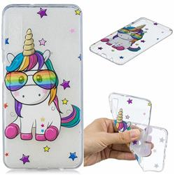 Glasses Unicorn Clear Varnish Soft Phone Back Cover for Samsung Galaxy A7 (2018)