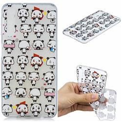 Mini Panda Clear Varnish Soft Phone Back Cover for Samsung Galaxy A7 (2018)