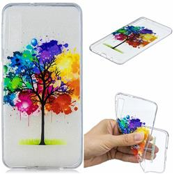 Oil Painting Tree Clear Varnish Soft Phone Back Cover for Samsung Galaxy A7 (2018)