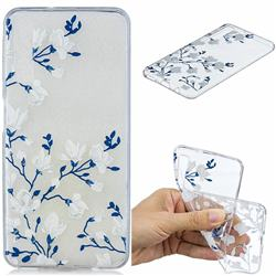 Magnolia Flower Clear Varnish Soft Phone Back Cover for Samsung Galaxy A7 (2018)