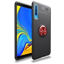 Auto Focus Invisible Ring Holder Soft Phone Case for Samsung Galaxy A7 (2018) - Black Red