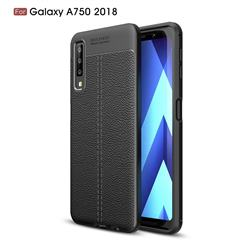 Luxury Auto Focus Litchi Texture Silicone TPU Back Cover for Samsung Galaxy A7 (2018) - Black