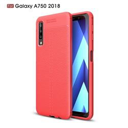 Luxury Auto Focus Litchi Texture Silicone TPU Back Cover for Samsung Galaxy A7 (2018) - Red