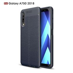 Luxury Auto Focus Litchi Texture Silicone TPU Back Cover for Samsung Galaxy A7 (2018) - Dark Blue