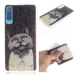 Cat Embrace IMD Soft TPU Cell Phone Back Cover for Samsung Galaxy A7 (2018)