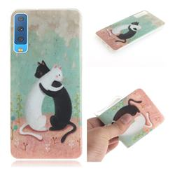 Black and White Cat IMD Soft TPU Cell Phone Back Cover for Samsung Galaxy A7 (2018)