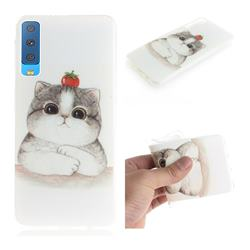 Cute Tomato Cat IMD Soft TPU Cell Phone Back Cover for Samsung Galaxy A7 (2018)