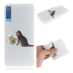 Cat and Tiger IMD Soft TPU Cell Phone Back Cover for Samsung Galaxy A7 (2018)
