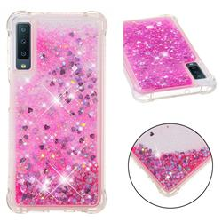 Dynamic Liquid Glitter Sand Quicksand TPU Case for Samsung Galaxy A7 (2018) - Pink Love Heart