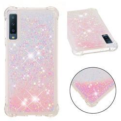 Dynamic Liquid Glitter Sand Quicksand TPU Case for Samsung Galaxy A7 (2018) - Silver Powder Star