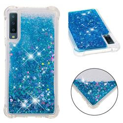 Dynamic Liquid Glitter Sand Quicksand TPU Case for Samsung Galaxy A7 (2018) - Blue Love Heart