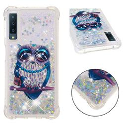 Sweet Gray Owl Dynamic Liquid Glitter Sand Quicksand Star TPU Case for Samsung Galaxy A7 (2018)