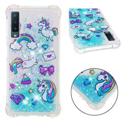 Fashion Unicorn Dynamic Liquid Glitter Sand Quicksand Star TPU Case for Samsung Galaxy A7 (2018)