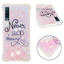 Never Stop Dreaming Dynamic Liquid Glitter Sand Quicksand Star TPU Case for Samsung Galaxy A7 (2018)