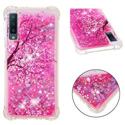Pink Cherry Blossom Dynamic Liquid Glitter Sand Quicksand Star TPU Case for Samsung Galaxy A7 (2018)