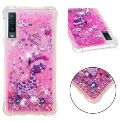 Skateboard Deer Dynamic Liquid Glitter Sand Quicksand Star TPU Case for Samsung Galaxy A7 (2018)