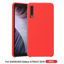 Howmak Slim Liquid Silicone Rubber Shockproof Phone Case Cover for Samsung Galaxy A7 (2018) - Red