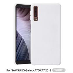Howmak Slim Liquid Silicone Rubber Shockproof Phone Case Cover for Samsung Galaxy A7 (2018) - White