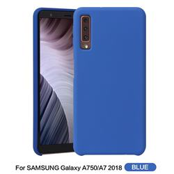Howmak Slim Liquid Silicone Rubber Shockproof Phone Case Cover for Samsung Galaxy A7 (2018) - Sky Blue