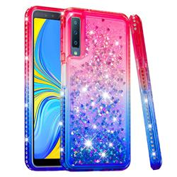 Diamond Frame Liquid Glitter Quicksand Sequins Phone Case for Samsung Galaxy A7 (2018) - Pink Blue