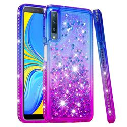 Diamond Frame Liquid Glitter Quicksand Sequins Phone Case for Samsung Galaxy A7 (2018) - Blue Purple