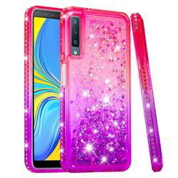 Diamond Frame Liquid Glitter Quicksand Sequins Phone Case for Samsung Galaxy A7 (2018) - Pink Purple