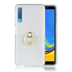 Luxury Soft TPU Glitter Back Ring Cover with 360 Rotate Finger Holder Buckle for Samsung Galaxy A7 (2018) A750 - White